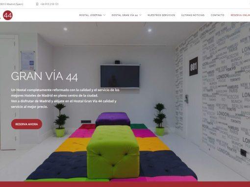 Diseño web con motor de reservas hostales Gran Vía 44