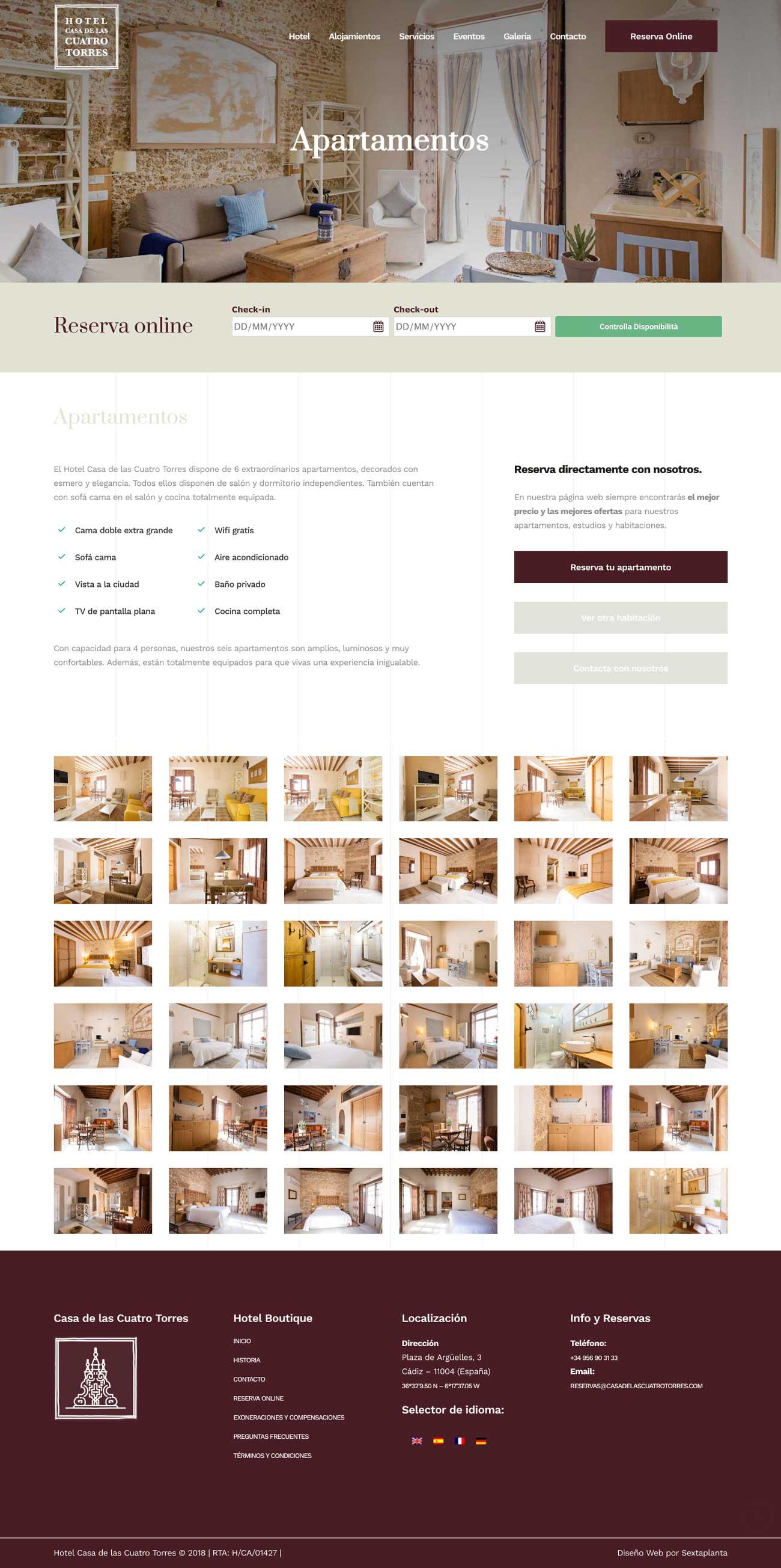 Diseño Web Hotel Casa las Cuatro Torres, Cádiz