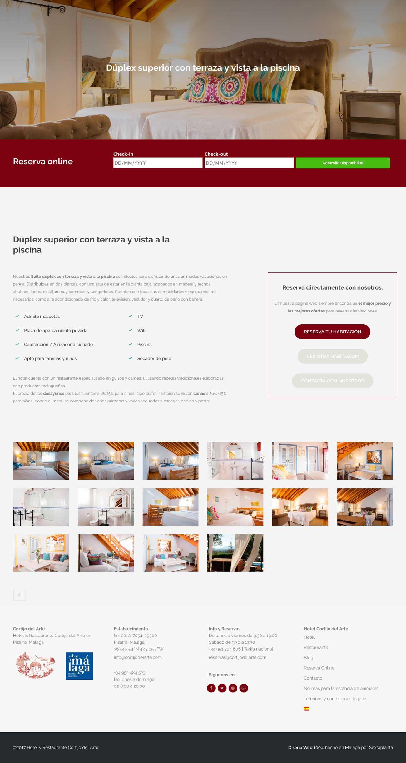 Diseño Web Hotel Cortijo del Arte
