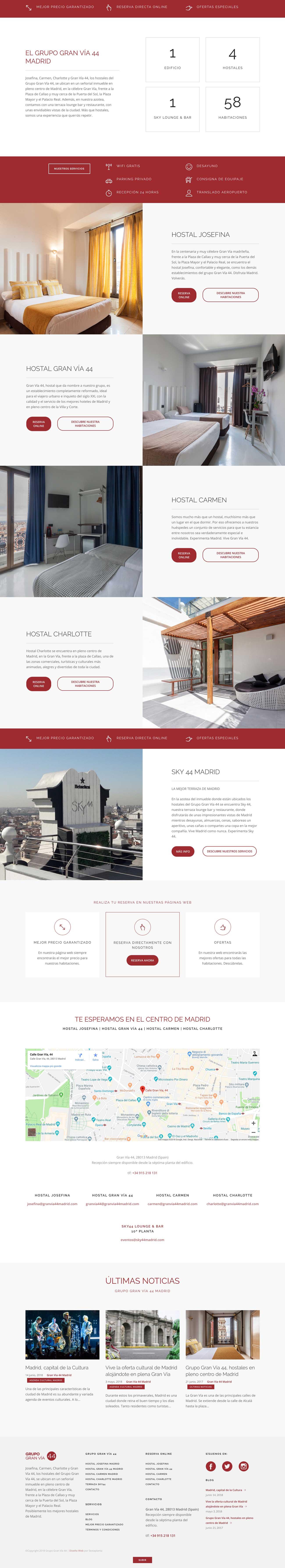Diseño Web Hostales Gran Vía 44 Madrid