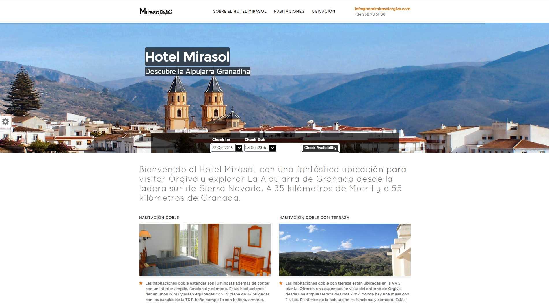 Web del Hotel Mirasol